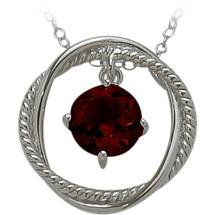 Ladies Sterling Silver Free Moving Garnet Pendant