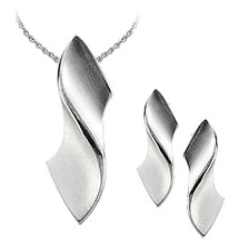 Sterling Silver Satin Finish Pendant & Earrings Set