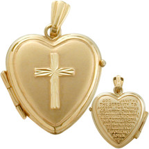 Ladies Yellow Gold Heart Religious Cross Locket with Prayer