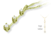 Ladies 3 Stone 14 karat Yellow Gold Diamond Pendant