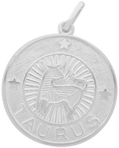 Sterling Silver Taurus Zodiac Pendant with Chain, 1 Inch