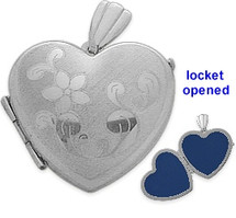 Sterling Silver Heart Shaped Locket with Diamond Cut Pattern