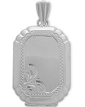Sterling Silver Rectangle Shaped Locket with Diamond Cut Pattern