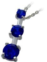 Sterling Silver Created Sapphire Past Present Future Pendant