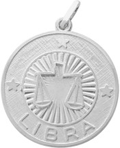 Sterling Silver Libra Zodiac Pendant with Chain, 1 Inch