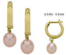 Yellow Gold 14 Karat Pink Leverback Drop Style Pearl Earrings