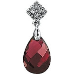 14 Karat White Gold Garnet & Diamond Pendant