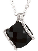 14 Karat White Gold Onyx & Diamond Pendant