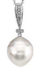 Diamond & White Pearl 14 Karat White Gold Pendant