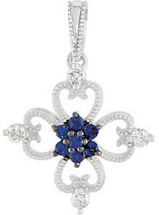 Sterling Silver Sapphire & Diamond Pendant