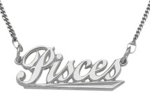 Genuine Sterling Silver Pisces Script Zodiac Pendant Feb 20 - Mar 21 with chain