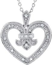 Sterling Silver Fleure-de-Lis 0.068 tcw Diamond Heart Pendant