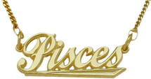 "10K Yellow Gold Pisces Script Zodiac Pendant Feb 20 - Mar 21 with 16"" chain"