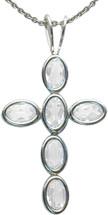 Sterling Silver White Topaz Oval Cross