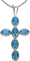 Sterling Silver Blue Topaz Oval Cross