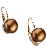 14 Karat Yellow Gold Dyed Chocolate Pearl Earrings