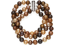Sterling Silver 3 Strand Chocolate Pearl Bracelet