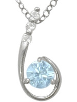 Sterling Silver Created Aquamarine Pendant