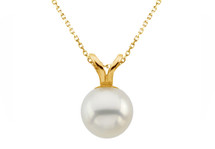 14 Karat Yellow Gold Cultured White Pearl Pendant