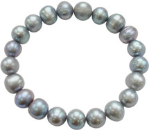 9-10mm Grey Freshwater Pearl Stretch Bracelet