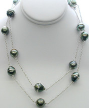 Sterling Silver 35 Inch Tahitian Pearl Necklace