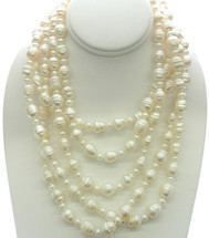 80 Inch White Freshwater Pearl Strand Necklace