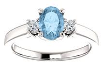 10 Karat White Gold CHOOSE YOUR STONE Oval 7mm X 5mm Gemstone Ring