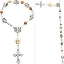 Pewter Olive Wood Bead Bracelet Rosary
