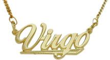 "10K Yellow Gold Virgo Script Zodiac Pendant Aug 24 - Sept 22 with 16"" chain"