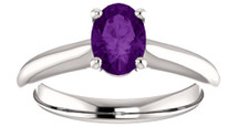 Ladies White Gold Oval Amethyst Solitaire Ring