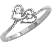 Ladies White Gold Double Heart Diamond Ring
