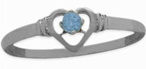 Ladies White Gold Blue Topaz Round Ring
