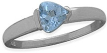 Ladies White Gold Blue Topaz Heart Ring