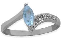 Ladies Sterling Silver Blue Topaz Ring