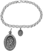 Silver Oval St. Christopher Religious Charm Bracelet
