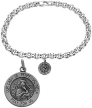 Silver Our Lady of Perpetual Help Religious Charm Bracelet
