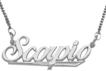 Genuine Sterling Silver Scorpio Script Zodiac Pendant Oct 24 - Nov 22 with chain