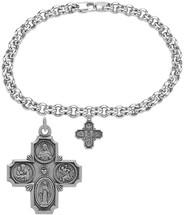 Sterling Silver Saint Cross Religious Charm Bracelet