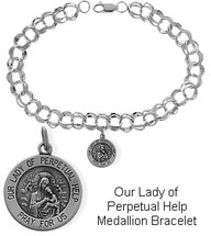 Sterling Silver Our Lady of Perpetual Help Charm Religious Bracelet