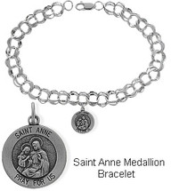 Sterling Silver St. Anne Charm Religious Bracelet