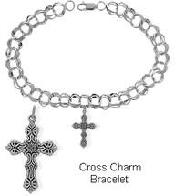 Sterling Silver Cross Charm Religious Bracelet