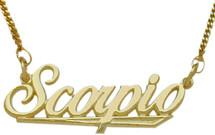 """10K Yellow Gold Scorpio Script Zodiac Pendant Oct 24 - Nov 22 with 16"""" chain"""