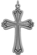 Large Sterling Silver Religious Detailed Cross