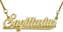 "10K Yellow Gold Sagittarius Script Zodiac Pendant Nov 23-De22 with 16"" chain"