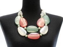 Pastel Chunky Statement Necklace & Earring Set