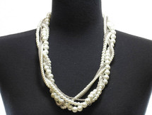Pearl Bead Link Statement Necklace & Earring Set