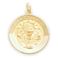 14 Karat Gold High Polish Religious Holy Communion Medal Medallion