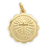 14 Karat Gold High Polish Religious Confirmation Medal Medallion