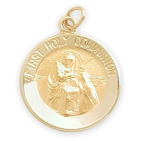 14 Karat Gold High Polish Religious First Holy Communion Medal Medallion