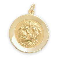14 Karat Gold High Polish Religious Baptismal Medal Medallion